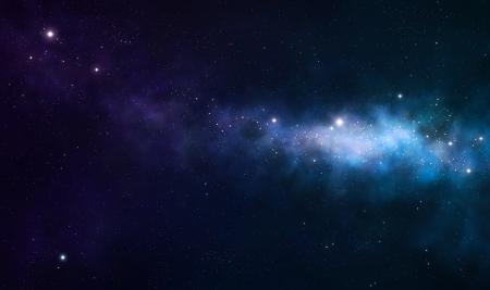 blue and purple nebula on black space background Archivio Fotografico