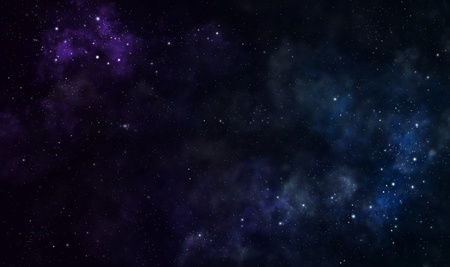 nebulae: Blue and purple nebulae in deep space Stock Photo
