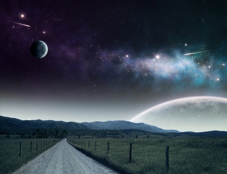 Pathway leading up to the night sky with moons and galaxies.