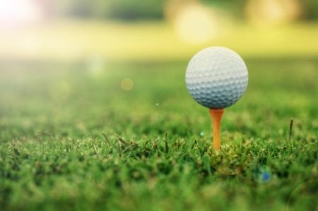 Golf ball standing on tee Stock fotó