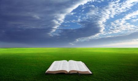 biblia: Abra la Biblia en un campo con verdes colinas cubiertas de hierba. Foto de archivo