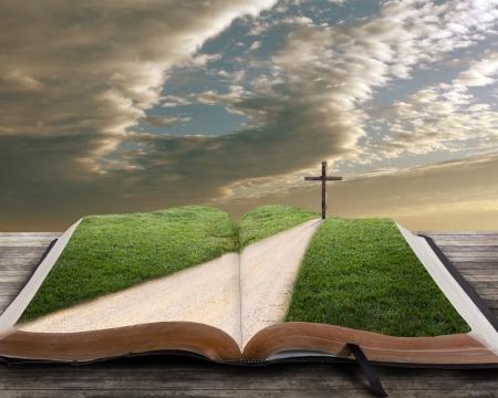 Open bijbel met pad in de richting van het kruis