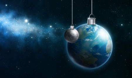 reflective background: The earth as an ornament hanging in space Stock Photo