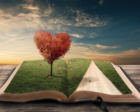 heart shaped: Heart shaped tree on open book