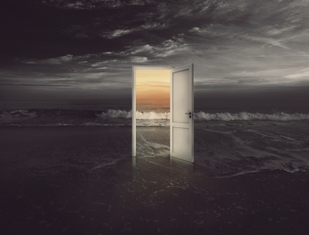 Open door into the colorful sunset