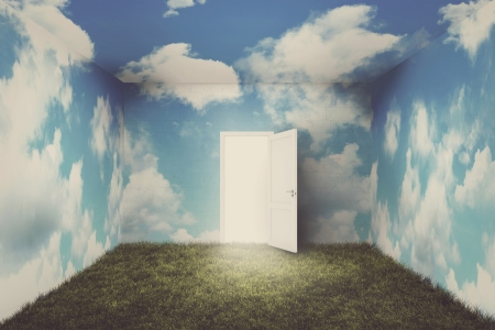 Surreal room with grass and clouds with open door.