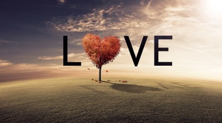 Red tree heart spelling the word LOVE