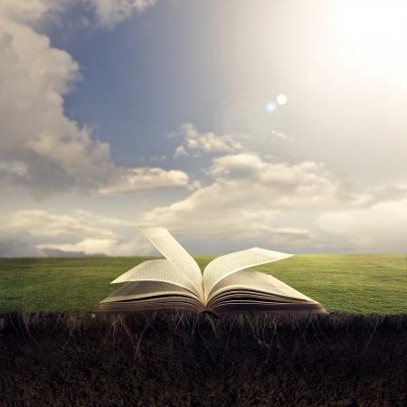 bible ouverte: Une Bible ouverte va dans le sol avec de la terre et des racines. Banque d'images
