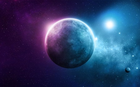 galactic: Blue and pink planet with two suns in deep space Stock Photo