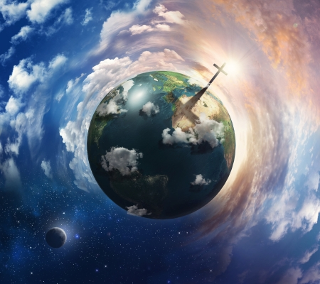 A surreal planet Earth with a cross casting a shadow. Elements provided by Nasa.