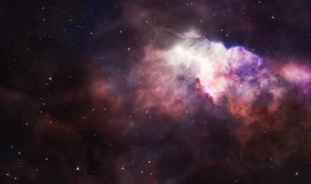 Pink nebula and bright stars in space background Stock Photo - 18839040