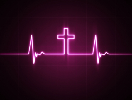 heartbeat: A heart rate monitor with a Christian cross symbol.