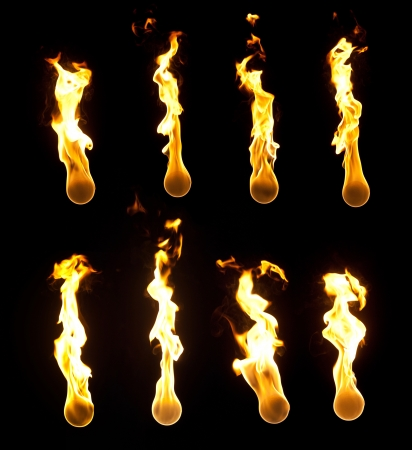 Collection of high resolution fireballs on black background