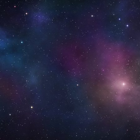 Space background with blue nebulae and distant stars Imagens