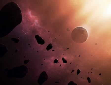 stratosphere: Beautiful space scene with asteroids and a planet in the cosmos.