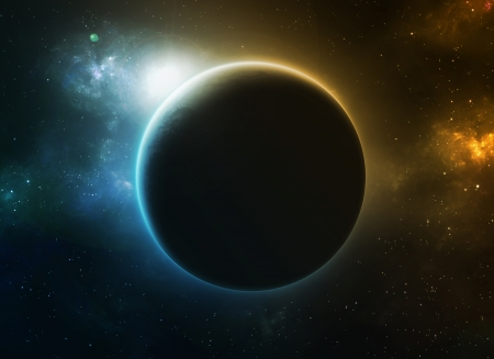 青とオレンジ色が大きい惑星星雲。