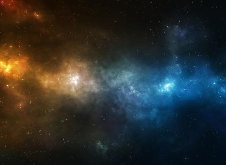 宇宙空間で青とオレンジ色の星雲 写真素材