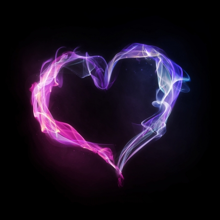 Pink and blue heart made of smoke and fire.