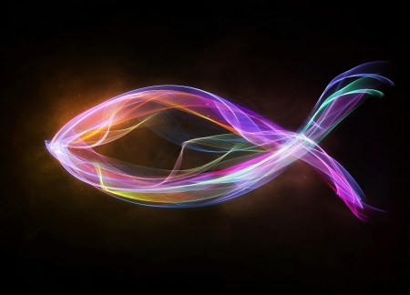 Colorful Christian fish logo with abstract lights.