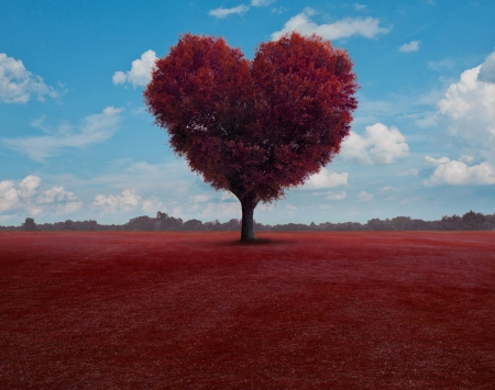 Heart shaped tree with leaves flying around.