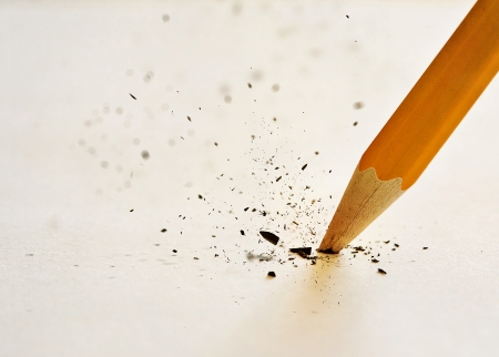 lead: The lead of the pencil breaking after pressing down too hard.