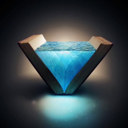 밝은 푸른 물을 가득 열려있는 책. 스톡 콘텐츠