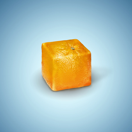 Surreal image of a square orange on a blue background.