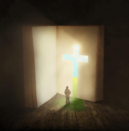 本の十字形のドアを通って歩く女性の超現実的なイメージ。