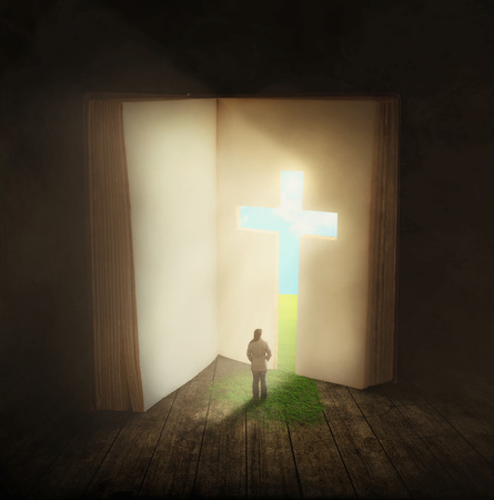 Surreal image of a woman walking through a cross shaped door in a book.