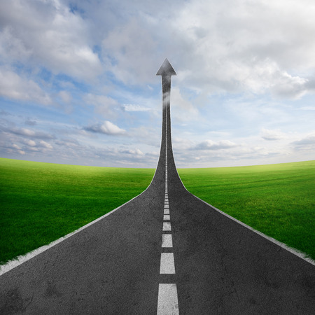 infinity road: A road going through the countryside and pointing towards the skies. Stock Photo