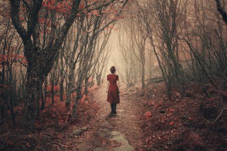 the walk: A woman in a dress dress walks through the foggy forest.