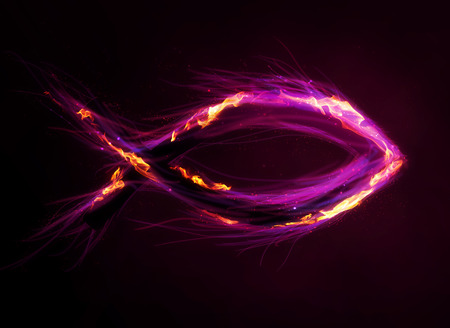 A colorful Christian fish symbol with bright colors and flames.