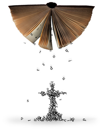 Letters falling out of an open Bible that make the shape of a cross. Standard-Bild