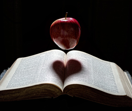 An apple floats above a Bible with a heart shadow.