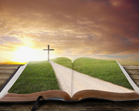 An open Bible with a road and grassy field leading to a cross. photo