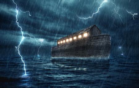 ノアの箱舟、雨や雷の嵐の中に。