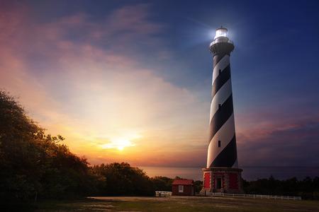 Cape Hatteras lighthouse at sunrise on the North Carolina shore 写真素材