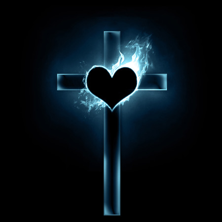 A glowing cross with a burning heart.