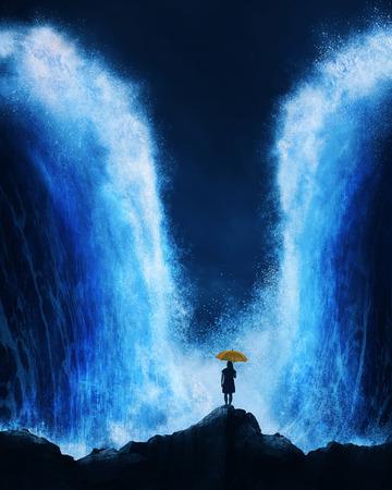 A woman stands with an umbrella before an splitting ocean.