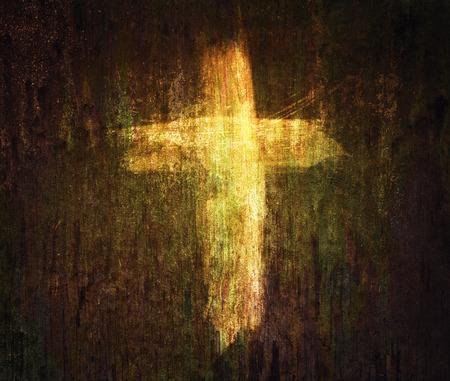 クロスは、グランジ テクスチャ背景に描かれました。