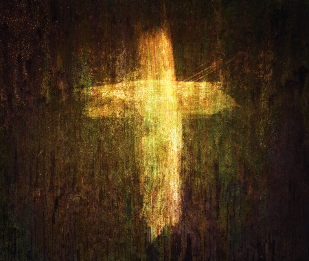 A cross painted on a grunge texture background.
