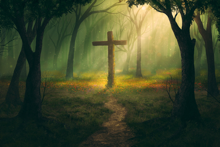 A single cross in the middle of a forest.