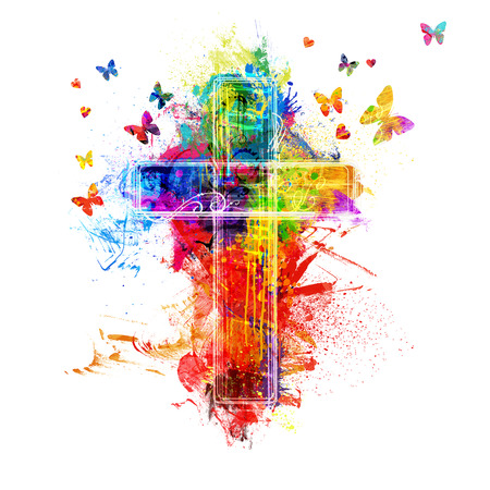 A cross created by colorful paint splatters