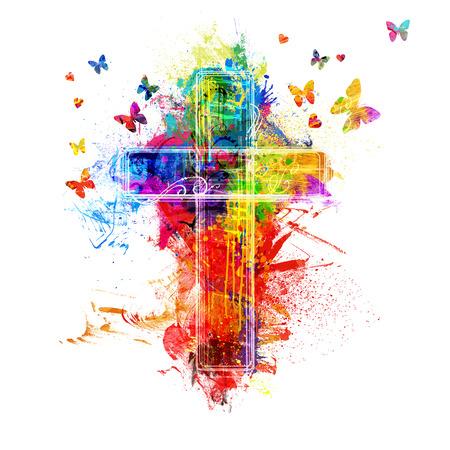 A cross created by colorful paint splatters Foto de archivo