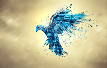 An abstract illustration of a blue dove in the sky.