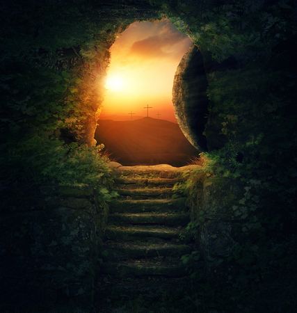 Jezus: Kamień jest odsunięty od grobu w poranek wielkanocny.