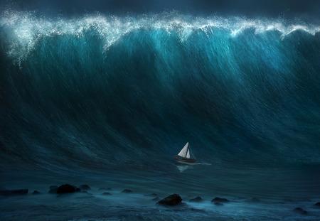 Een kleine boot wordt gevangen genomen door een grote golf.