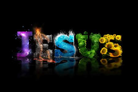 JEZUS woordkunst met kleurrijke foto's van de schepping.