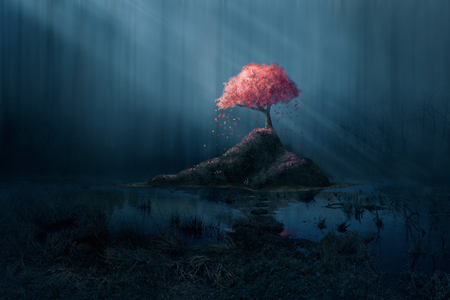 A single pink tree in a dark blue forest.