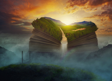 big bible: A huge book on top of the clouds. Stock Photo